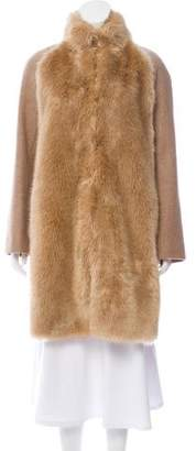 Giamba Faux Fur-Trimmed Knee-Length Coat