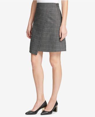 DKNY Menswear Grid Asymmetric Crossover Skirt, Created for Macy's