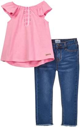 Hudson Flutter Sleeve Tank & Denim Crop Pant Set (Toddler Girls)
