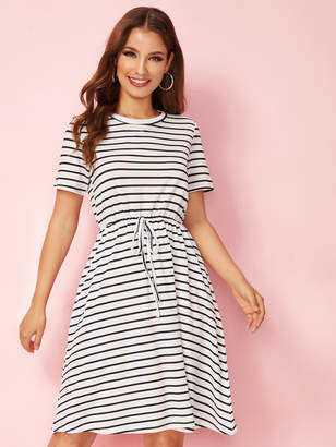 Shein Striped Drawstring Waist T-shirt Dress