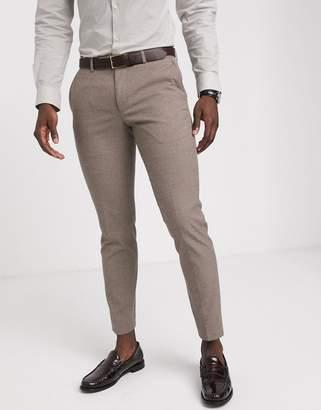Moss Bros slim fit suit trouser in tan