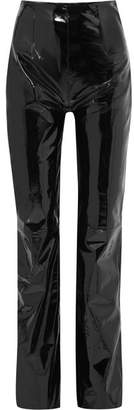 16Arlington Patent-leather Straight-leg Pants - Black