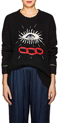 Raquel Allegra Women's Eye-Motif Alpaca-Blend Sweater - Black