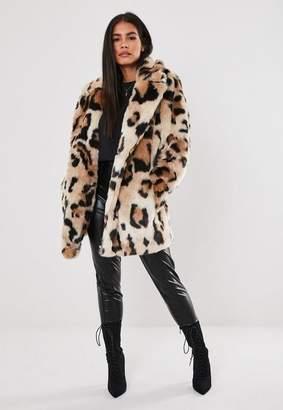 Missguided Brown Leopard Print Faux Fur Oversized Coat