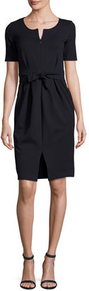 Armani Collezioni Milano Jersey Belted Short-Sleeve Dress, Midnight $825 thestylecure.com