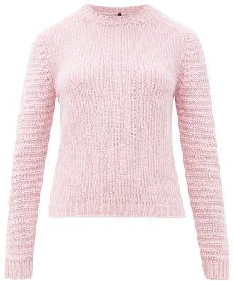 Sara Lanzi Ribbed Sleeve Crew Neck Wool Blend Sweater - Womens - Pink
