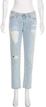 IRO Distressed Mid-Rise Straight-Leg Jeans