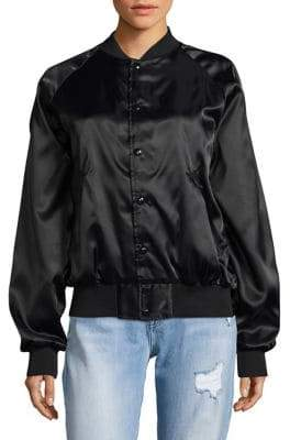 Bow And Drape Stand Collar Satin Bomber Jacket