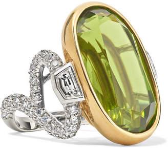 Fred Leighton Collection Platinum, 18-karat Gold, Peridot And Diamond Ring