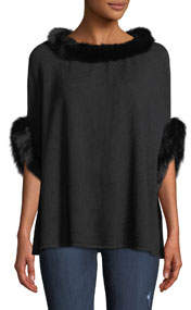 Wool-Blend Poncho w/ Fox Fur Trim