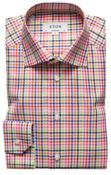 Eton Contemporary Fit Multi Color Check Dress Shirt
