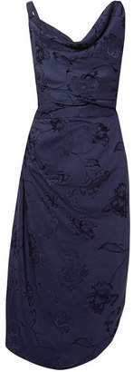 Vivienne Westwood Draped Jacquard Midi Dress - Navy