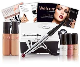Luminess Air White & Black Legend Airbrush System with 5-Piece Silk 4-IN-1 Deluxe Airbrush Foundation & Cosmetic Starter Kit