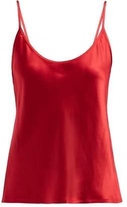 La Perla Scoop Neck Silk Satin Camisole - Womens - Red