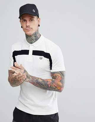 Fred Perry textured panel polo in off white