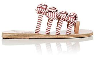 Ancient Greek Sandals Women's Hara Bow-Embellished Cotton Slide Sandals - Red