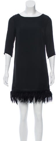 RED ValentinoRed Valentino Feather-Trimmed Silk Dress w/ Tags