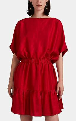 Azeeza Women's Cheryl Cinched-Waist Raw-Silk Dress - Red
