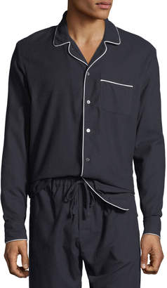 Desmond & Dempsey Men's Contrast-Piping Lounge Shirt