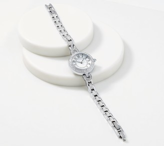 Diamonique Stainless Steel Vintage Style Round Watch, Boxed