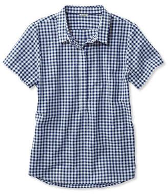 L.L. Bean (エルエルビーン) - テクスチャード・コットン・ポップオーバー・シャツ、半袖 ギンガム