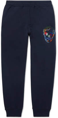 Alexander McQueen Slim-Fit Tapered Embroidered Loopback Cotton-Jersey Sweatpants