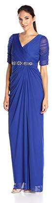 Adrianna Papell Women's Shirred Wrap Tulle Gown