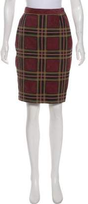 Valentino Plaid Suede Skirt