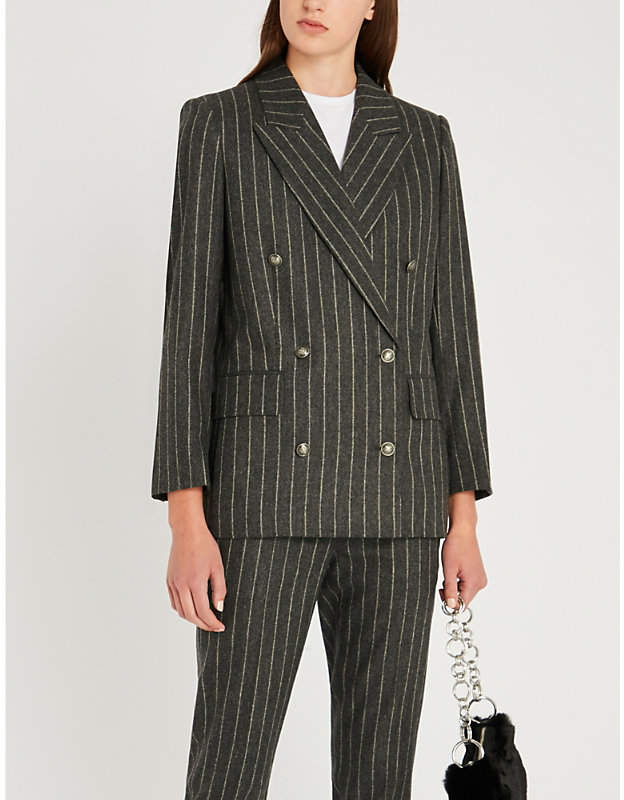 Double-breasted striped wool-blend jacket