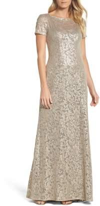 La Femme Shimmer Jacquard Gown