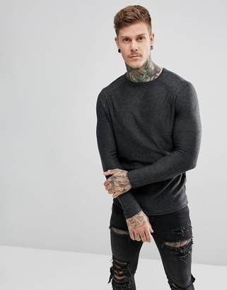 New Look Crew Neck Sweater In Dark Gray