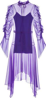 ELENAREVA Chiffon Ultra Violet Mini Dress