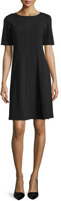 Lafayette 148 New York Seamed Short-Sleeve Fit & Flare Dress, Plus Size