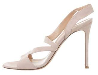Gianvito Rossi Suede Slingback Sandals Pink Suede Slingback Sandals