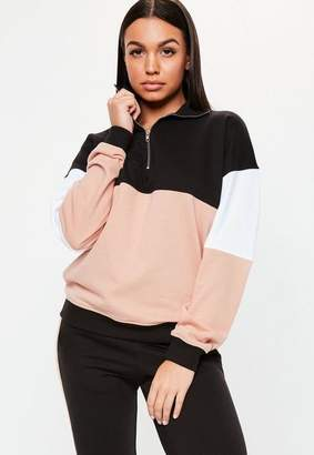 Missguided Nude Zip Front Colour Block Contrast Co Ord Sweatshirt