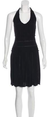 Fendi Leather-Accented Halter Dress