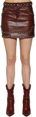 DSQUARED2 Studded Leather Mini Skirt