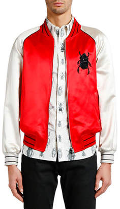 Alexander McQueen Men's Bug-Embroidered Satin Souvenir Jacket