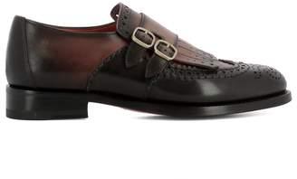 Santoni Brown Leather Loafers