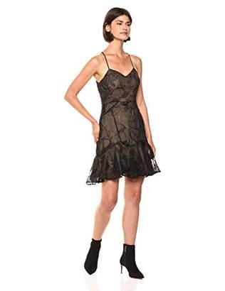 Halston Women's Sleeveless V Neck Embroidered Soutache Dress