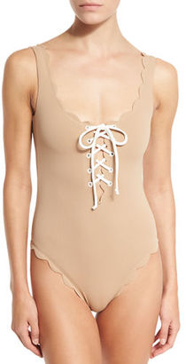 Marysia Palm Springs Scalloped Lace-Up Maillot $350 thestylecure.com