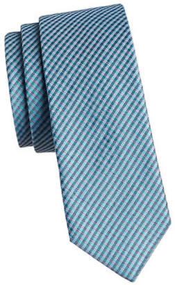 Calvin Klein Gingham Slim Silk Tie