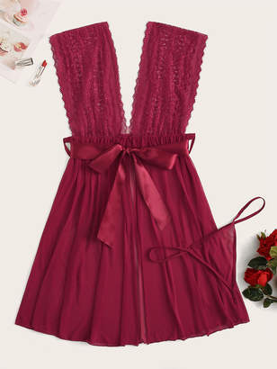 Shein Plus Contrast Lace Knot Waist Dress With Thong