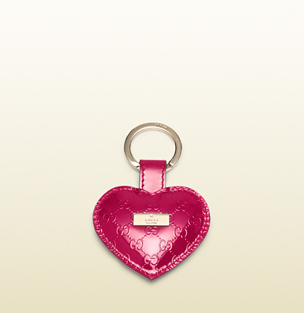 Gucci Microguccissima Patent Leather Heart Key Ring
