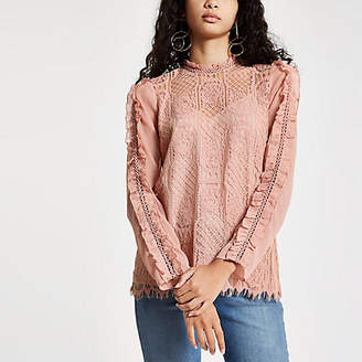 River Island Pink lace long sleeve top