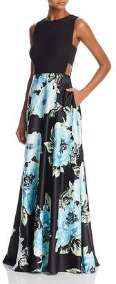 Aqua Side-Cutout Floral-Print Gown - 100% Exclusive