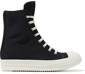 Rick Owens Perforated Neoprene High-Top Sneakers