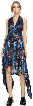 BCBGMAXAZRIA BCBG Maegan Metallic Jacquard Halter Dress