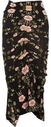 Preen by Thornton Bregazzi Ruby Ruched Floral-Print Stretch-Crepe Midi Skirt