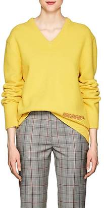 Calvin Klein Women's Embroidered Wool-Cotton V-Neck Sweater